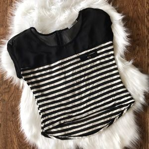 Women's black & ivory striped crop top